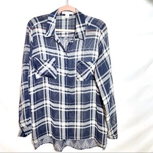 Plaid Patterned Navy Button Down Top
